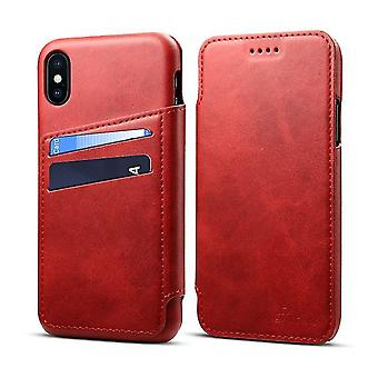 Apple iPhone 6 / 6S Flip Wallet Leather Case - Red