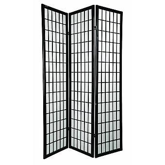 Fine Asianliving Japanese Room Divider 3 Panneaux W135xH180cm Écran de confidentialité Shoji Riz-papier Noir - Tana