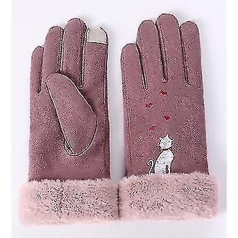 Double Layer Suede Thick Warm Gloves Winter Gloves Women Winter(Purple)