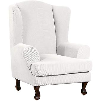 Stretch jacquard wingback chair covers slipcovers wing chair covers (base cover plus seat cushion cover, ivory)
