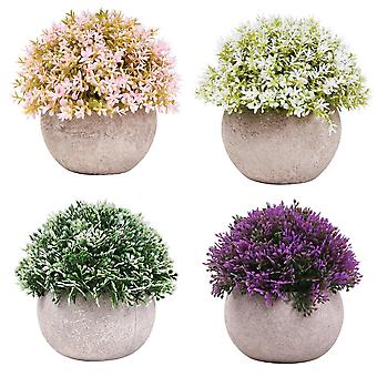 4pcs Artificial Potted Plants Mini Fake Plant Plants In Pots For Home Office Decor