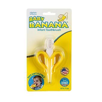 Gul banan tannbørste, trening tannbørste for spedbarn, baby og småbarn