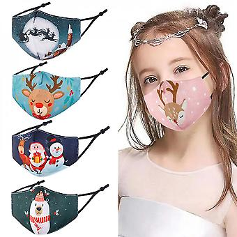 5pcs Christmas Face Masks For Kids, Breathable And Anti-haze Dust