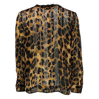 G by Giuliana Women's Top Printed Shadow Button Up Shirt Brown 675750