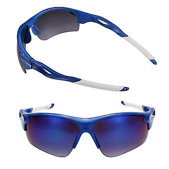 """The Athlete"" 2 Pair Polarized Lightweight Sport Wrap Bifocal Sunglasses - Blue/Blue - 3.00"
