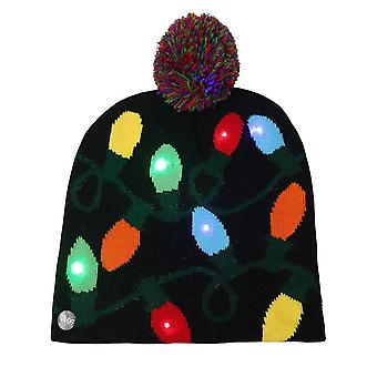 Led Christmas Hat Sweater Knitted Beanie Christmas Light Up Knitted Hat Christmas Gift For Kids Xmas 2022 New Year Decorations