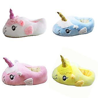 Regenboghorn Unicorn Plyšové papuče Teplé mäkké topánky Zábavné party kostýmové topánky Cuddly Home Slippers Veľkosť 36-44, angel_unicorn_yellow
