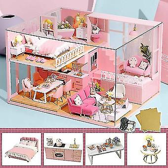 Dollhouse accessories cutebee diy dollhouse wooden doll houses miniature doll house furniture kit casa music led toys for