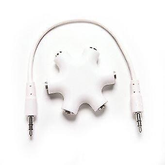 Splitter de audio de auriculares de 3,5 mm 1 macho a 2 3 4 5 cable de puerto femenino