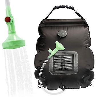 Bolsa de ducha de lavado de botella de agua caliente solar solar al aire libre de 20l, adecuada para acampar, bañarse y bañarse (negro)