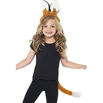 Kit Fox cu urechi pe benzi de păr și coadă