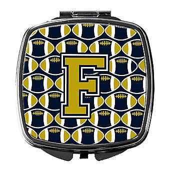 Carolines Treasures  CJ1074-FSCM Letter F Football Blue and Gold Compact Mirror