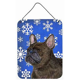 Fransk Bulldog Winter snöflingor Holiday vägg eller dörr hängande utskrifter