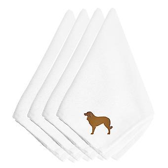 Portugisiska Sheepdog hund broderade servetter uppsättning av 4