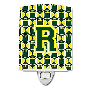 Letter R Football Green and Yellow Ceramic Night Light