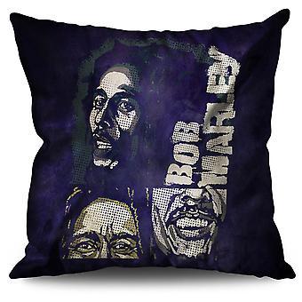 Marley Bob Jamaican Linen Cushion 30cm x 30cm | Wellcoda