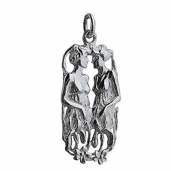 Silber 33x17mm Zwilling Sternzeichen-Anhänger