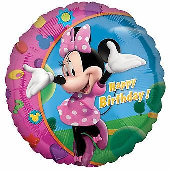 Amscan 18 Inch Disney Minnie Mouse Happy Birthday Circular Foil Balloon