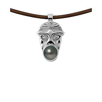 Male Tribal Leather, Pearl of Tahiti and Massive Silver necklace 925 7019