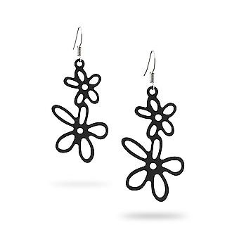Black Silicone Flowers Hanging Earrings 6566