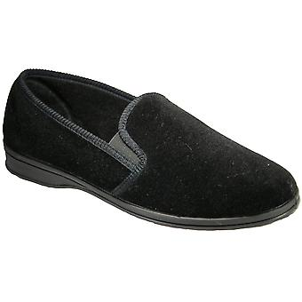 Mirak Mens Shepton Slip-On Elasticated Textile Slipper Black