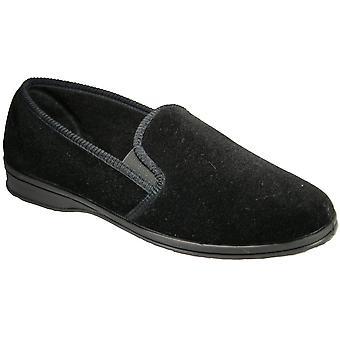 Mirak Mens Shepton instapper elastisch textiel pantoffel zwart
