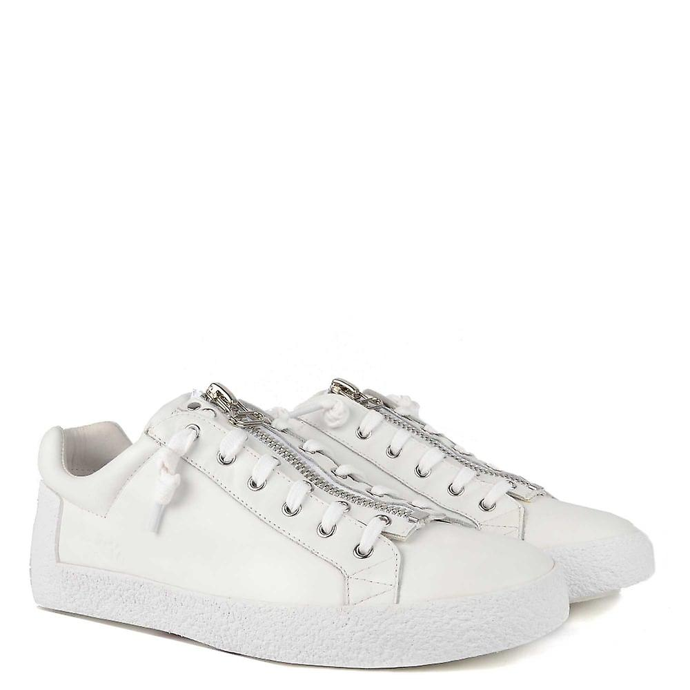 Ash Footwear Mens' Nilo White Leather With Zip Trainer