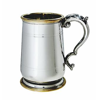 1 Pint Hallam Pewter And Brass Jacobean Tankard