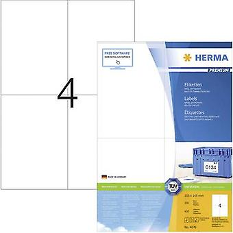 Herma 4676 Labels 105 x 148 mm Paper White 400 pc(s) Permanent All-purpose labels, Franking labels Inkjet, Laser, Copier 100 Sheet A4