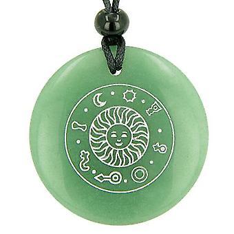 Talisman énergie positive du soleil vert Aventurine cercle de pierre gemme magique bonne chance pendentif