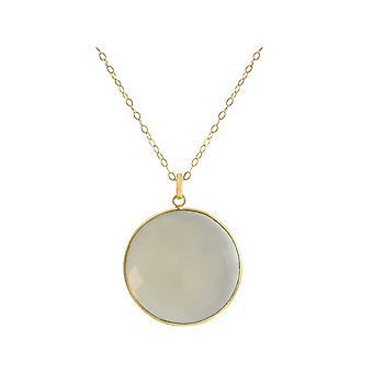 Gemshine-dame-halskjede-925 sølv-gullbelagt-Moonstone-grå