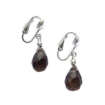 Boucles d'oreilles Gemshine Women's Ear Clips 925 Silver Smoky Quartz Drop Brown