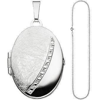 Oval Locket pendant to open for 2 photos 925 Silver necklace 50 cm
