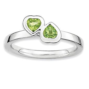 925 Sterling Silver Bezel Polished Rhodium-plated Stackable Expressions Peridot Double Heart Ring - Ring Size: 5 to 10