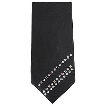 Knightsbridge halsdukar Diagonal Diamante smal slips - svart