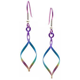 Ti2 Titan Wirework Diamond Drop örhängen - Rainbow