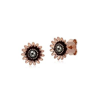 Rose Gold Plated Round Marcasite Daisy Stud Earrings in 925 Sterling Silver 224E022001925