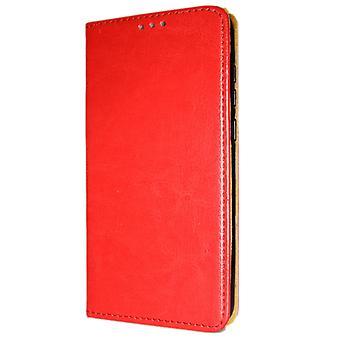 Aitoa nahkaa Book Slim Huawei y6 (2018) lompakko kotelo punainen