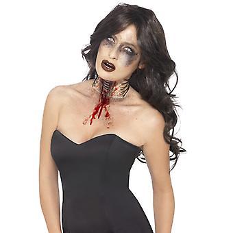 Zombie utsatt halsen sår