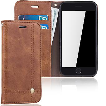 Cell phone cover case voor Apple iPhone 7 cover Wallet case Brown