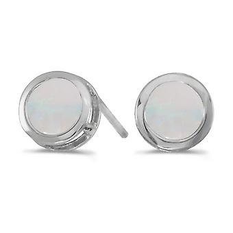 LXR 14k valkoinen kulta pyöreä opaalikehys pidike korvakorut 0.38ct