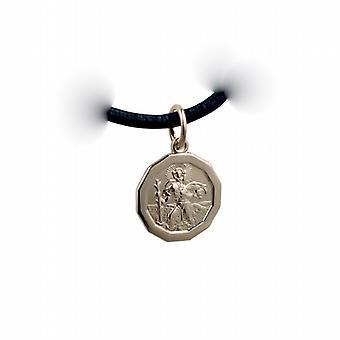 1/20th 14 карат желтого золота на серебро 13x13mm двенадцатиугольными St Кристофер Кулон с кожаный подвесной шнур 24 дюймов