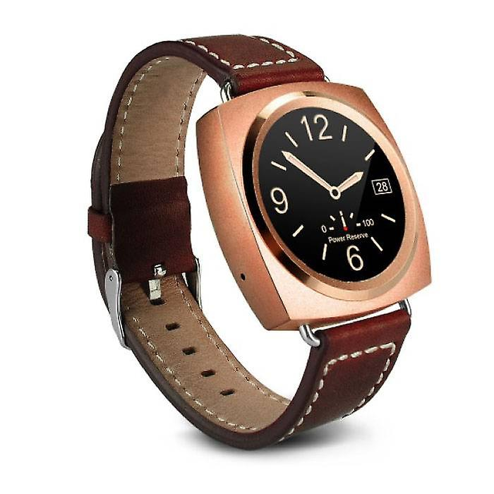 Stuff Certified® Original A11 Smartwatch Smartphone Fitness Sport Activity Tracker Watch OLED Android iOS iPhone Samsung Huawei Gold Leather