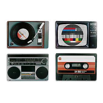 Tableset Nostalji Hifi Cihazlar Retro Stil Renkli, Baskılı, Set 4, 100% Polipropilen, 4 farklı Sebepler.