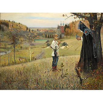 החזון של הנער ברתולומאוס, מיכאיל נפרנוב, 50x37 ס מ