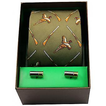 David Van Hagen Flying Pheasant and Shotgun Tie and Cufflink Set - Green