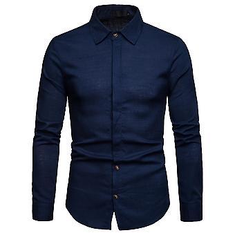 Allthemen menns langermet skjorte Lin jakkeslaget krage Business casual skjorte