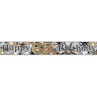 Simon Elvin Happy 65th Birthday Holographic Foil Banner
