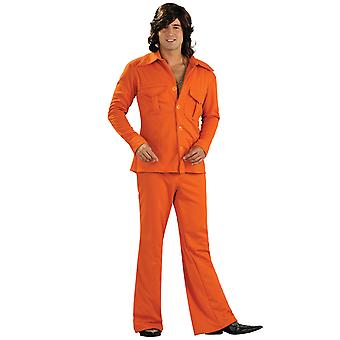 Leisure-Suit-Orange 1970s 1960s Disco-Retro-Party Dress Up Herren Kostüm STD