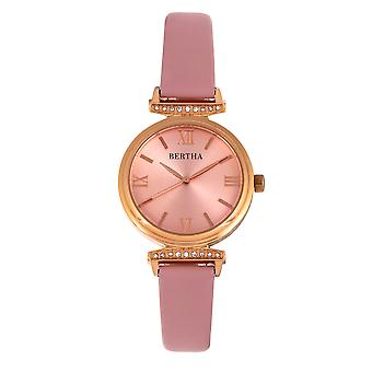 Bertha Jasmine Leather-Band Watch - Rose